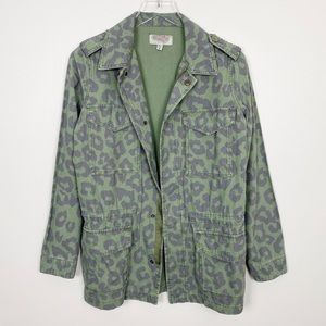 URBAN OUTFITTERS Leopard Utility Jacket S Green